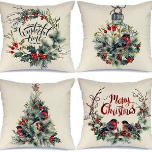 Merry Christmas Farmhouse Rustic Throw Pillows X 4